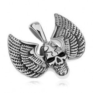 Přívěsek z chirurgické oceli, stříbrná barva, patinovaná lebka s křídly G23.02