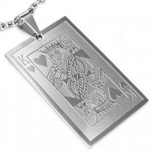 Přívěsek z oceli - hrací karta srdcový král S20.24