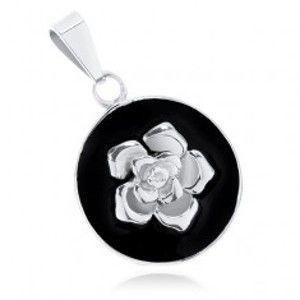Přívěsek z oceli 316L, matný černý kruh, lesklá růže stříbrné barvy S59.08