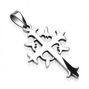Přívěsek z oceli kříž s kruhem G5.9