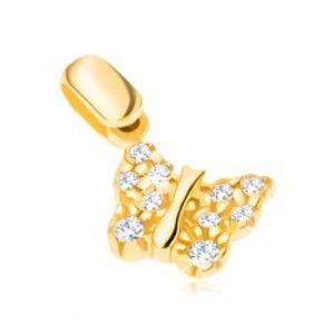 Přívěsek ze 14K zlata - motýlek se strukturovanými křídly a zirkony GG02.12