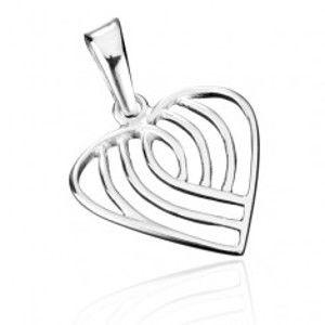Přívěsek ze stříbra 925 - pruhované srdce AB5.19