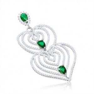 Přívěsek ze stříbra 925, obrysy srdcí s filigránem, čiré a zelené zirkony SP61.28