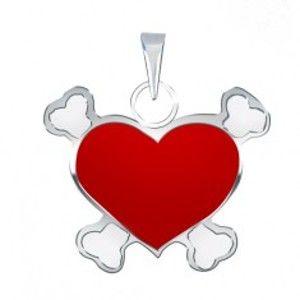 Přívěsek ze stříbra 925 s červeným pirátským srdcem AA44.30