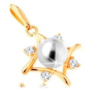 Přívěsek ze žlutého 14K zlata - kontura kosočtverce, čiré zirkony, bílá perla GG123.05