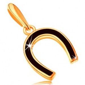 Přívěsek ze žlutého 14K zlata - podkůvka pokrytá lesklou černou glazurou GG122.01
