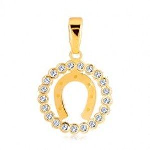 Přívěsek ze žlutého 14K zlata - zirkonový kruh a podkova pro štěstí GG35.28