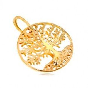 Přívěsek ze žlutého zlata 585 - kruh s vyřezávaným stromem života GG18.36
