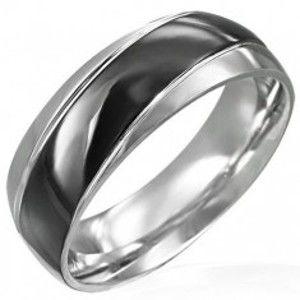 Prsten černostříbrný se šikmým černým pásem D8.6