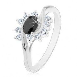 Prsten s lesklými rameny, černý zirkonový ovál a čiré obloučky AC19.30