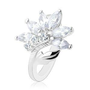 Prsten s lesklými rameny, třpytivý zirkonový květ čiré barvy, lístek - Velikost: 54