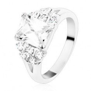 Prsten s rozdělenými rameny, čirý zirkonový obdélník, kulaté zirkony S21.06
