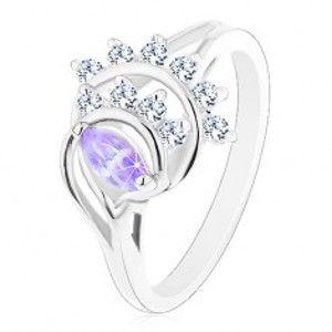 Prsten s rozdělenými rameny, světle fialové zrnko, oblouky z čirých zirkonů R43.28