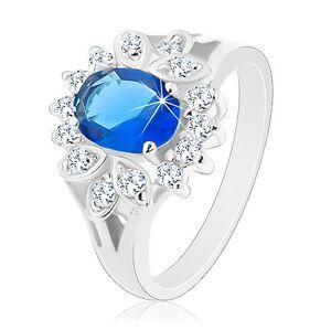 Prsten s rozdělenými rameny, tmavomodrý oválný zirkon, čirý lem - Velikost: 48