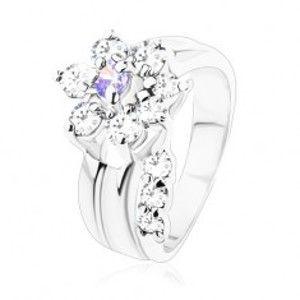 Prsten s rýhou na ramenech, čirý zirkonový stonek, fialovo-čirý květ S15.01