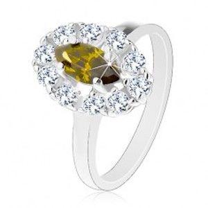 Prsten s úzkými rameny ve stříbrném odstínu, zelené zirkonové zrnko, čirý lem G15.25