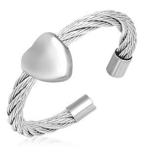 Prsten se srdcem - točený ocelový drát - Velikost: 55