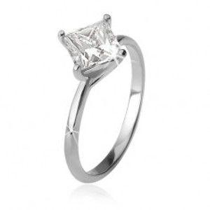 Prsten se čtvercovým zirkonem na zatočených tyčinkách, stříbro 925 U7.10