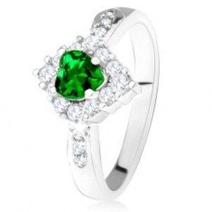 Prsten se zeleným srdcovým zirkonem, čirý kosočtverec, stříbro 925 T23.16