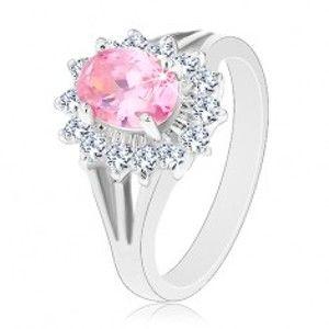 Prsten se zirkonovým květem v růžové a čiré barvě, rozdělená ramena V02.19