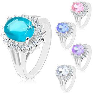 Prsten stříbrné barvy, velký zirkonový ovál, obruba z čirých zirkonků - Velikost: 54, Barva: Růžová