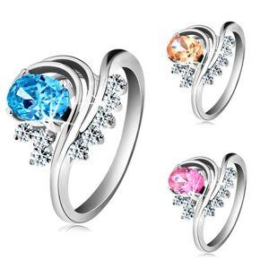 Prsten stříbrné barvy, zahnuté linie, barevný oválný zirkon a čiré zirkonky - Velikost: 57, Barva: Růžová