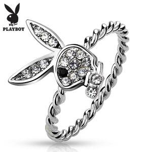 Prsten stříbrné barvy, zajíček Playboy s čirými zirkony a s černým očkem - Velikost: 52