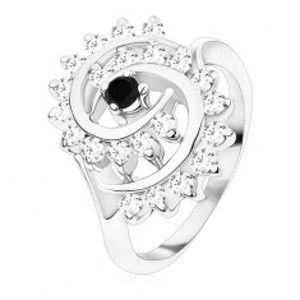 Prsten stříbrné barvy, velká spirála z čirých zirkonků s černým středem R48.31
