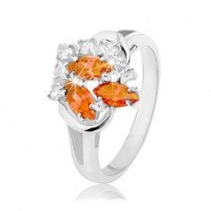 Prsten stříbrné barvy, čiré a oranžové zirkony, lesklé obloučky R33.2