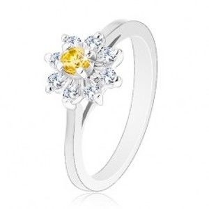 Prsten stříbrné barvy, zúžená ramena, žluto-čirý zirkonový kvítek AC23.26