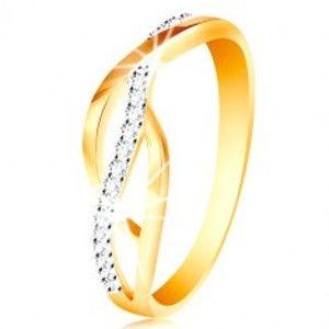 Prsten v kombinovaném 14K zlatě - propletené hladké a zirkonové linie GG214.58/65