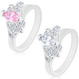 Prsten ve stříbrné barvě, šikmé linie čirých zirkonů, velké broušené zrnko R29.10