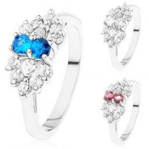 Prsten ve stříbrném odstínu, mašlička z čirých a barevných zirkonů R39.19