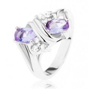 Prsten ve stříbrném odstínu, světle fialové a čiré zirkony, dvojitá spirála R28.29