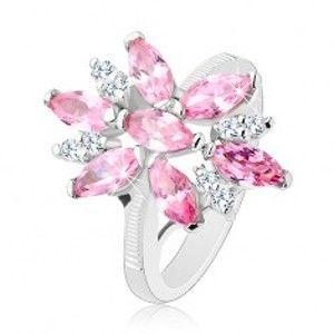 Prsten ve stříbrném odstínu, velký květ s růžovými a čirými lupínky R33.4