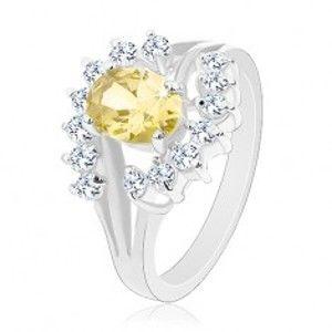 Prsten ve stříbrném odstínu, zirkonový ovál žluté barvy, čiré obloučky G02.10