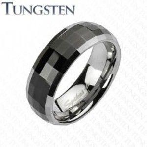 Prsten z wolframu v disco stylu - černý střed, stříbrné okraje K18.18