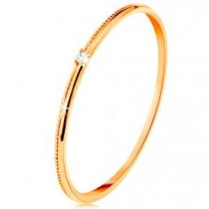 Prsten ve žlutém 14K zlatě - drobný čirý zirkon, jemně vroubkovaná ramena GG134.07/37/40/198.56/57