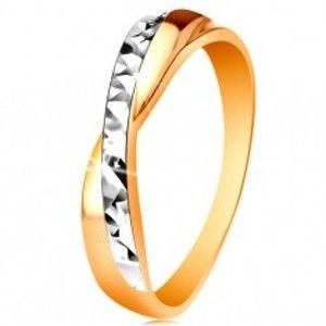 Prsten ve 14K zlatě - dvoubarevná překřížená ramena, drobné blýskavé rýhy GG192.31/37