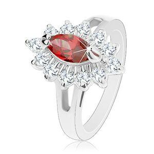 Prsten ve stříbrné barvě, lesklá rozdělená ramena, třpytivý květ - Velikost: 50, Barva: Žlutá