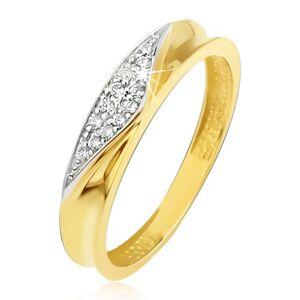 Prsten ve žlutém 14K zlatě - obroučka s vyhloubeným středem, zirkonový trojúhelník - Velikost: 51