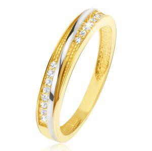 Prsten ve žlutém 14K zlatě - ozdobné trojúhelníkové zářezy, zirkony - Velikost: 51