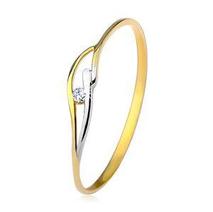 Prsten ve žlutém a bílém 14K zlatě, úzká ramena, vlnky a zirkon čiré barvy - Velikost: 53