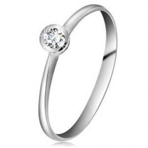 Prsten z bílého 14K zlata - blýskavý čirý briliant v lesklé objímce, zúžená ramena BT180.49/180.56