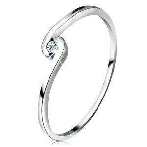 Prsten z bílého zlata 14K - kulatý čirý zirkon mezi zahnutými rameny - Velikost: 58