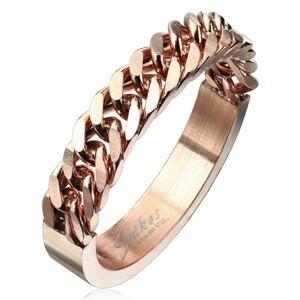 Prsten z chirurgické oceli měděné barvy se vzorem řetízku, 4 mm - Velikost: 68