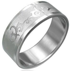 Prsten z chirurgické oceli s ornamentem - Velikost: 54