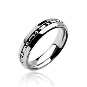 Prsten z chirurgické oceli se středovým pruhem s kuličkami - Velikost: 59