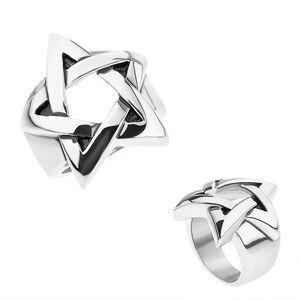 Prsten z chirurgické oceli, stříbrná barva, patinovaný pentagram - Velikost: 69