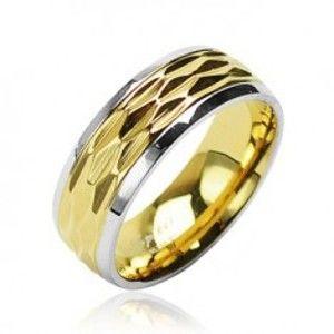 Prsten z chirurgické oceli - zlato-stříbrný zvlněný motiv L6.06
